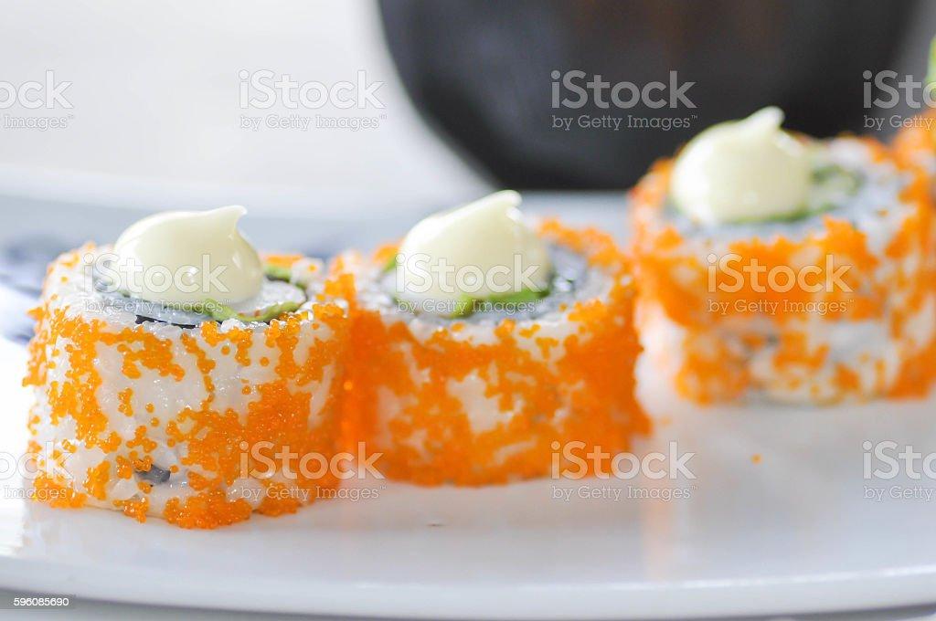 California  roll dish, Japanese food stock photo