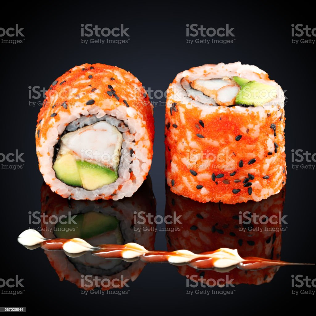 California roll with crab, avocado and cream cheese stock photo
