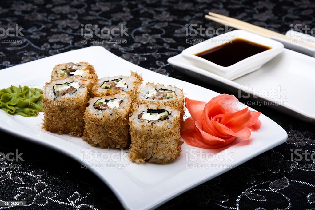 California rolls sushi with pickled ginger, vasabi and soy sauce stock photo