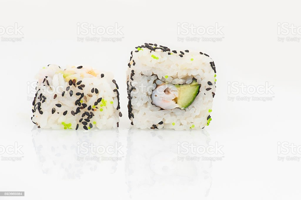 California rolls with prawn, avocado and cucumber stock photo