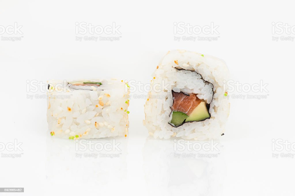 California rolls with salmon, avocado and cucumber stock photo