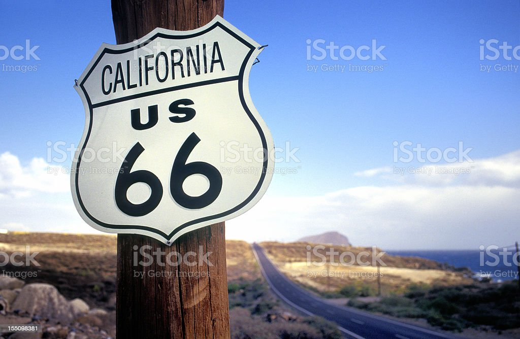 California route 66 road sign on wooden pole stock photo