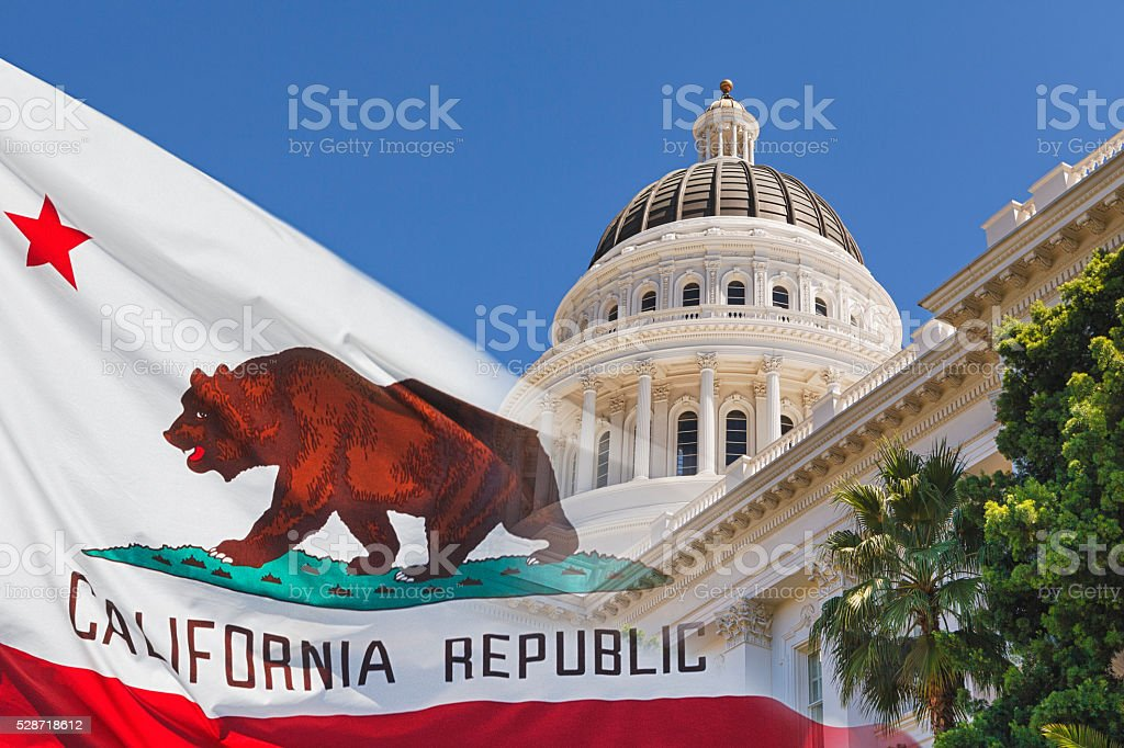 California State Capital with State Flag stock photo