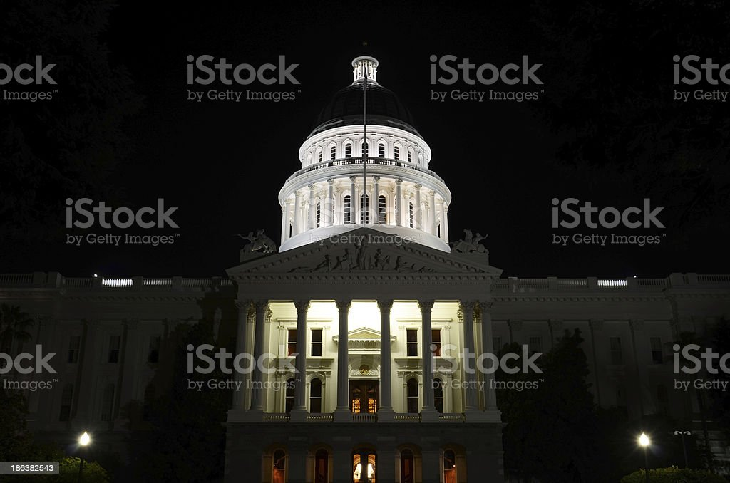 California State Capitol at Night stock photo