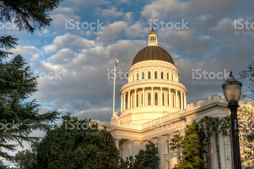 California State Capitol Building in the evening stock photo