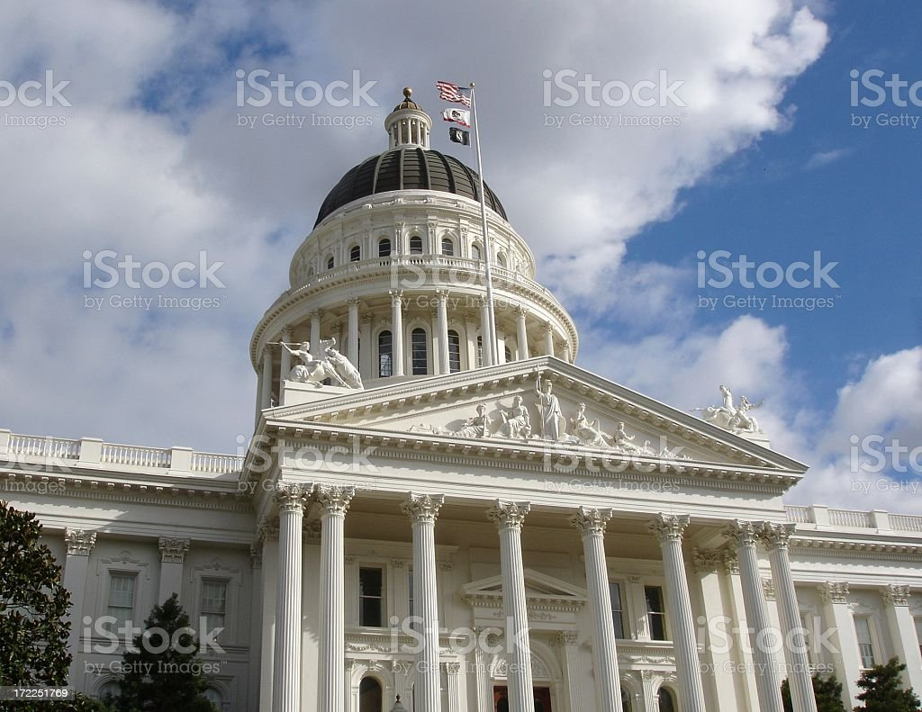 California State Capitol building Sacramento with  national flags stock photo