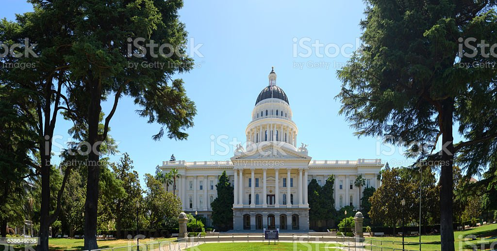 California State Capitol front view Panorama stock photo