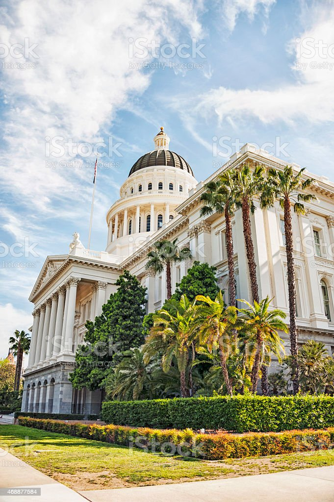 California State House March Morning View from Below stock photo