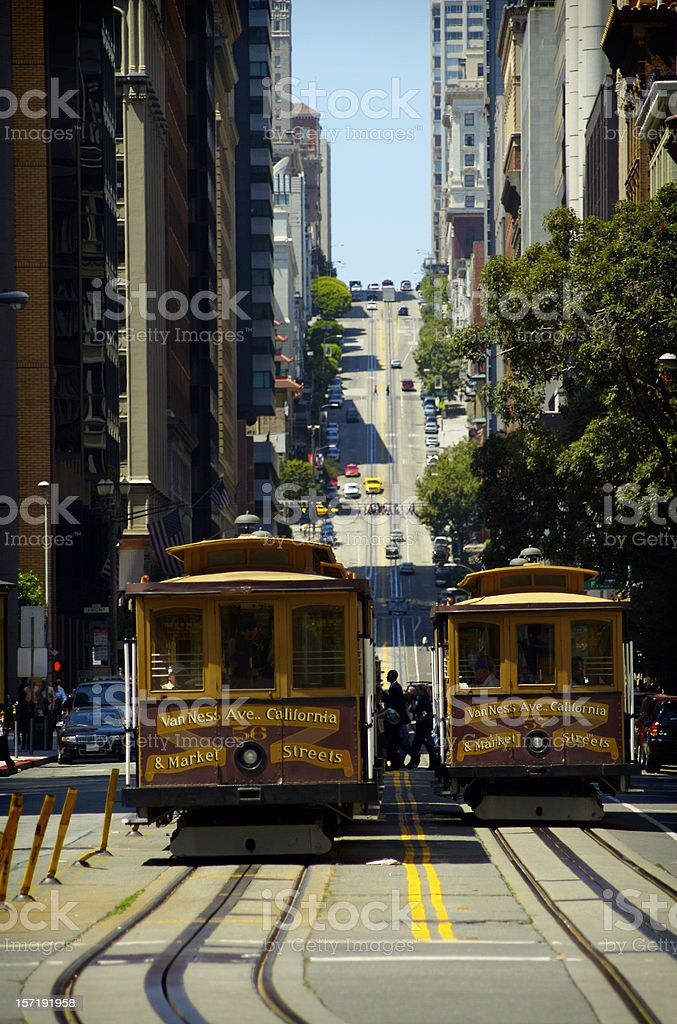 California street and cable car royalty-free stock photo