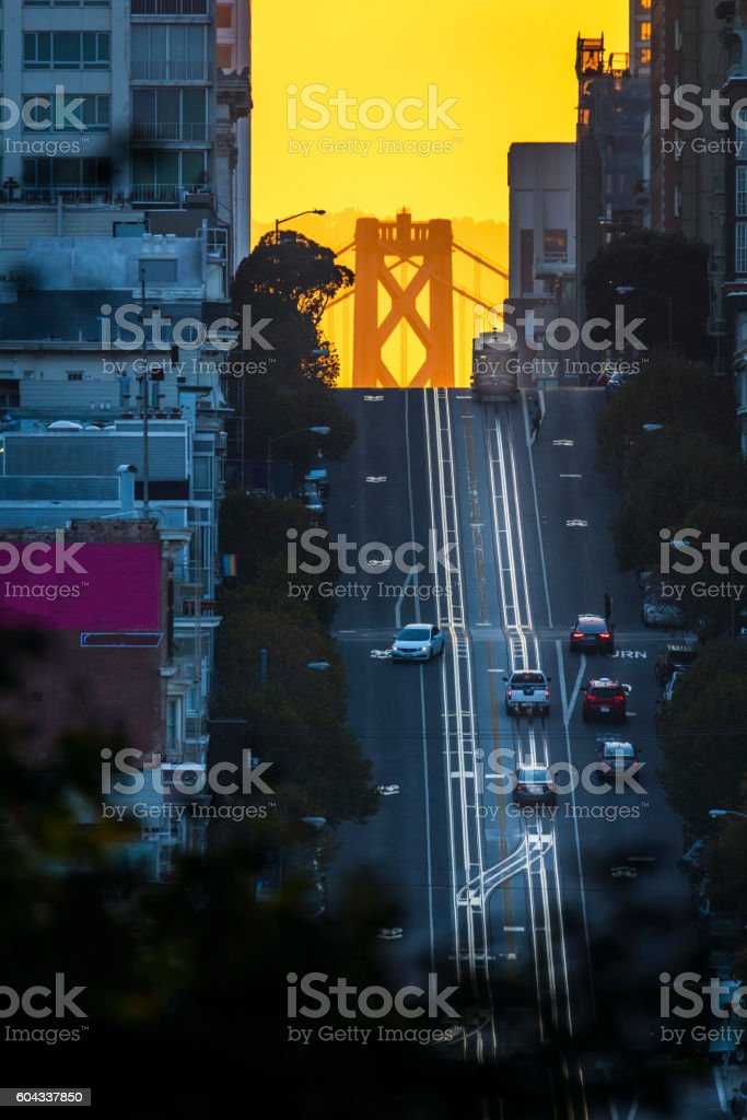 California Street at Sunrise, San Francisco stock photo