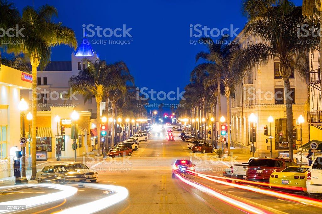 California Street in Downtown Ventura, USA at Night stock photo