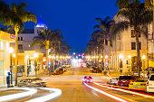 California Street in Downtown Ventura, USA at Night