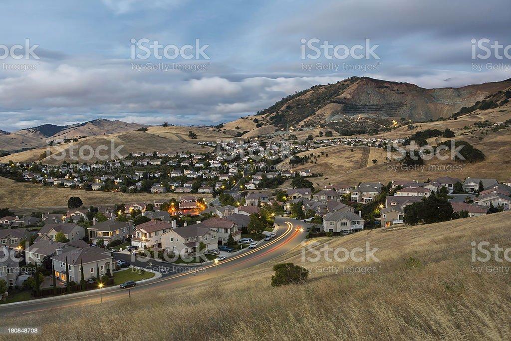 California Suburbs Nightfall stock photo