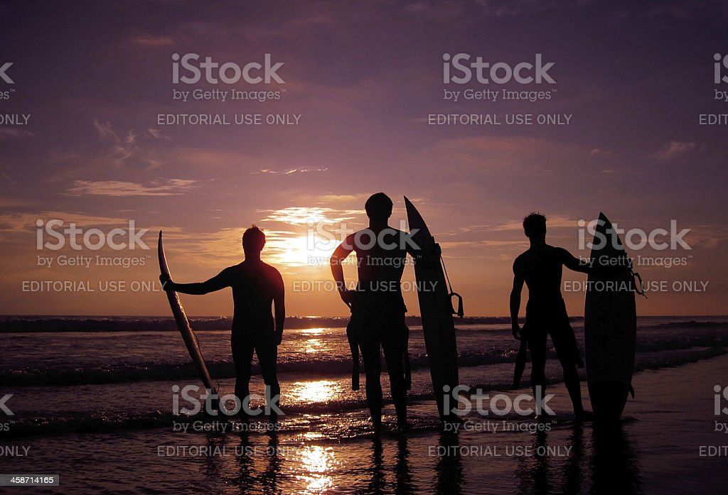 California Surfers at Sunset royalty-free stock photo