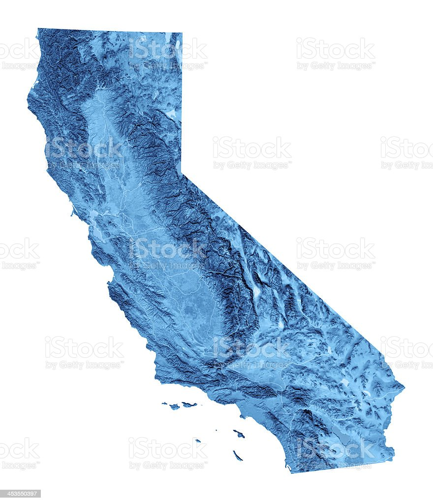 California Topographic Map Isolated stock photo