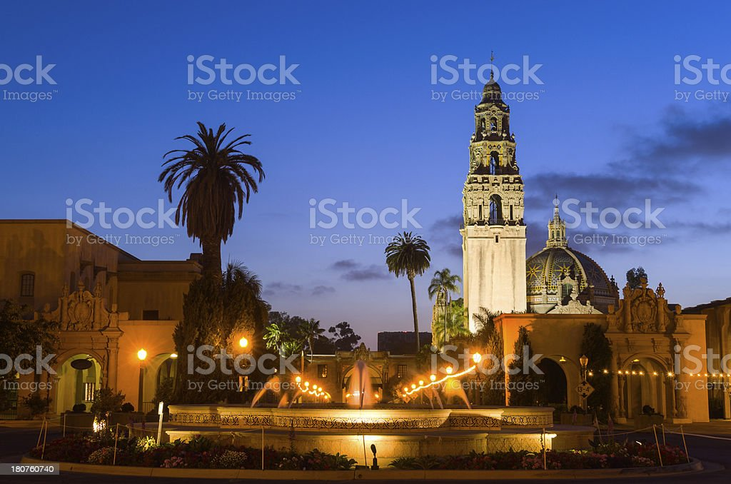 California Tower and fountain at Balboa Park in San Diego stock photo