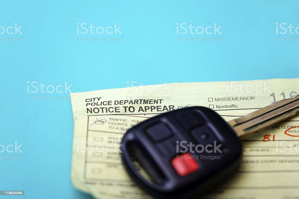 California Traffic Ticket And Car Key royalty-free stock photo