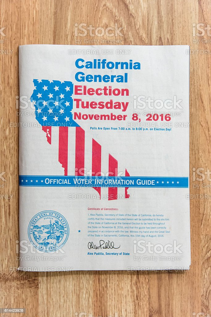 California Voter Information Guide 2016 stock photo