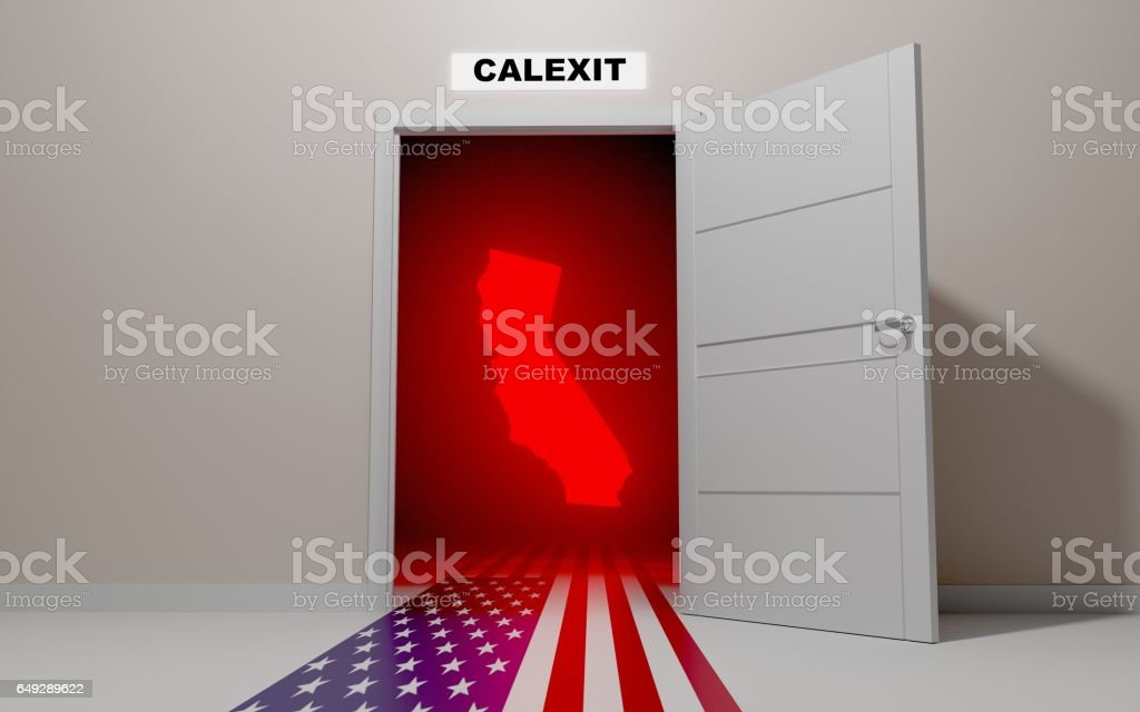 California want's to leave (exit) the United States of America vector art illustration