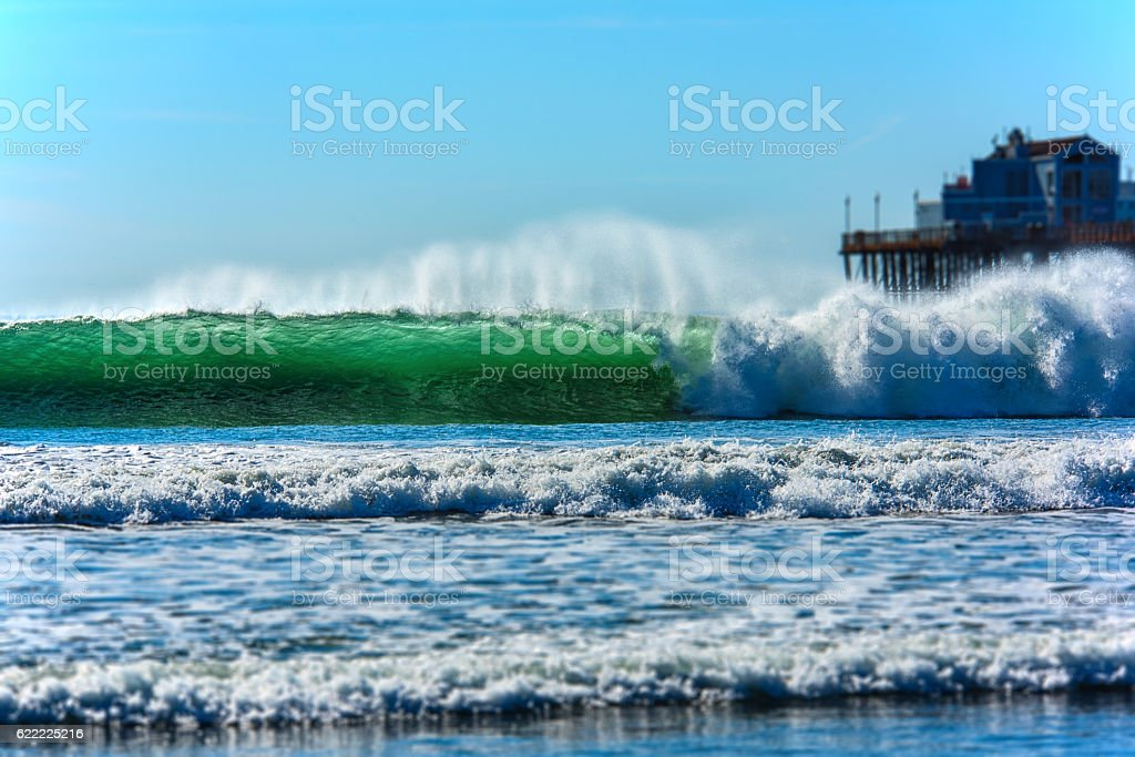 California Wave Breaking On Shore stock photo