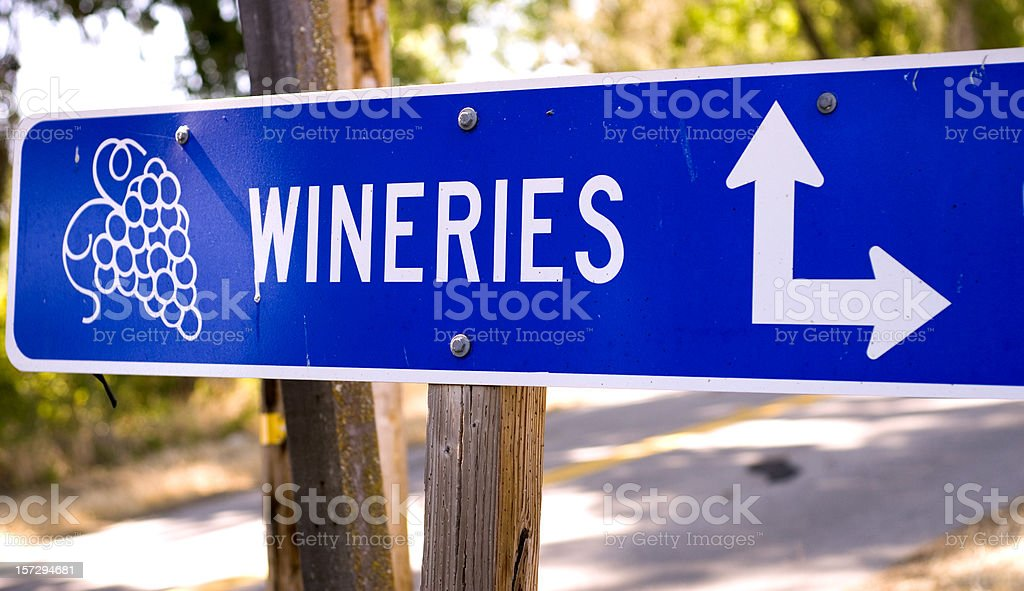 California Winery Rural Road Sign with Grapes, Paso Robles stock photo