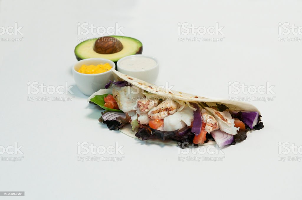 Californian white grilled fish taco stock photo