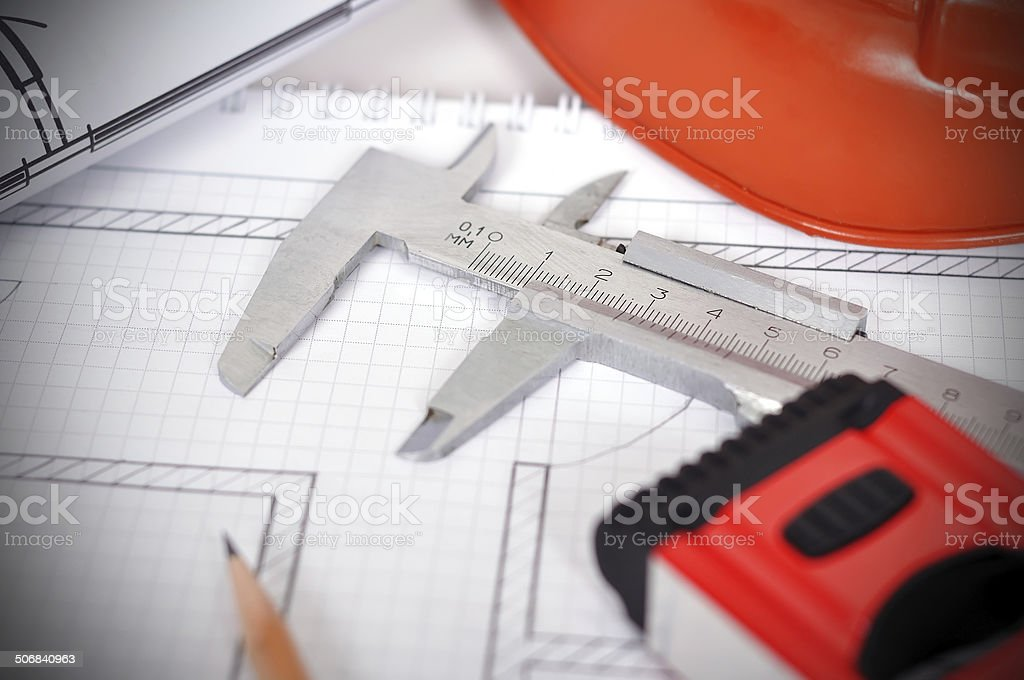 caliper and  line level royalty-free stock photo