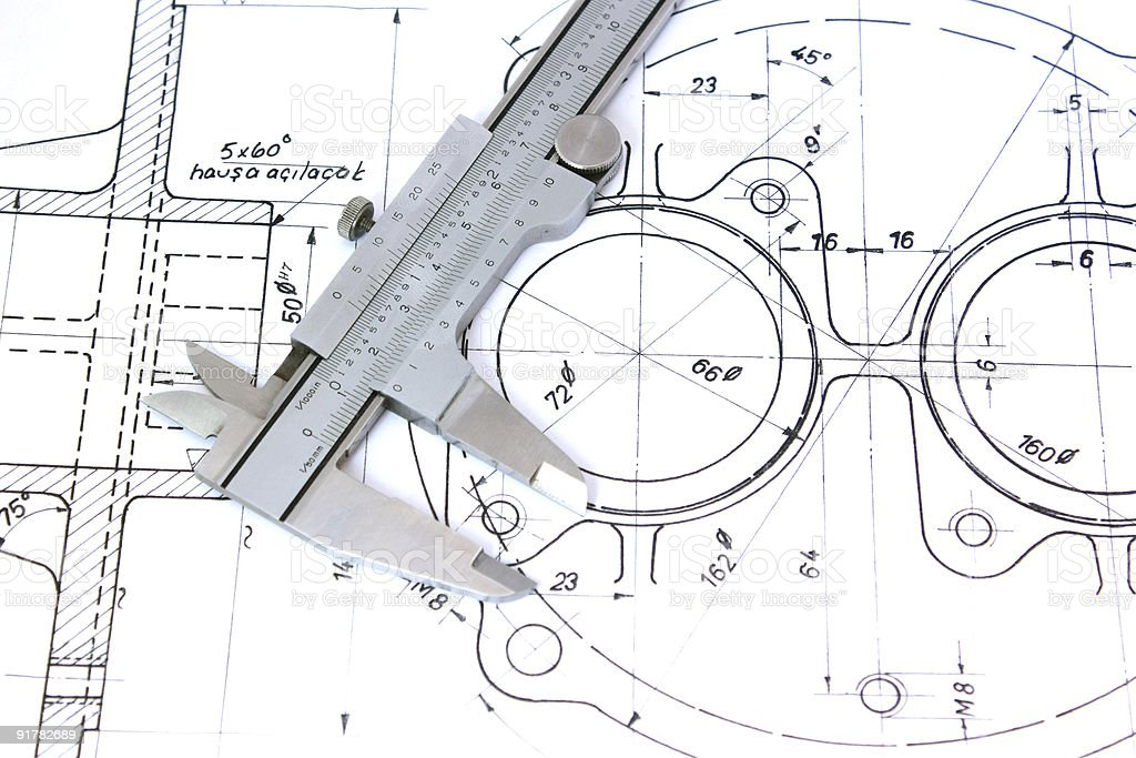 Caliper on blueprint. Horizontal royalty-free stock photo