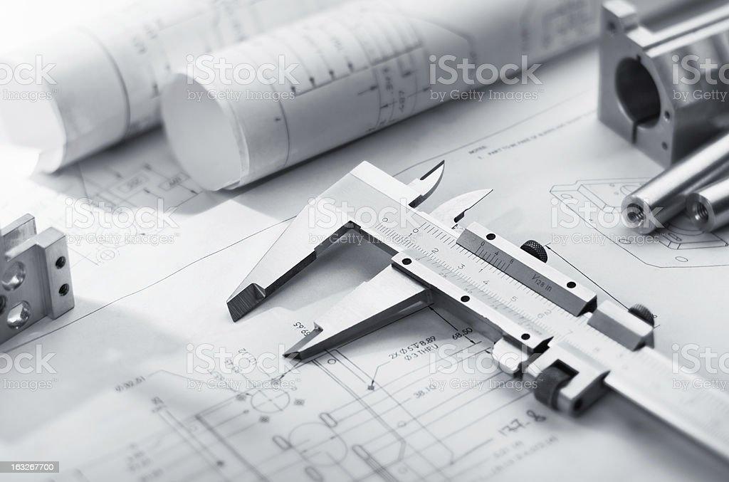 caliper on blueprint royalty-free stock photo