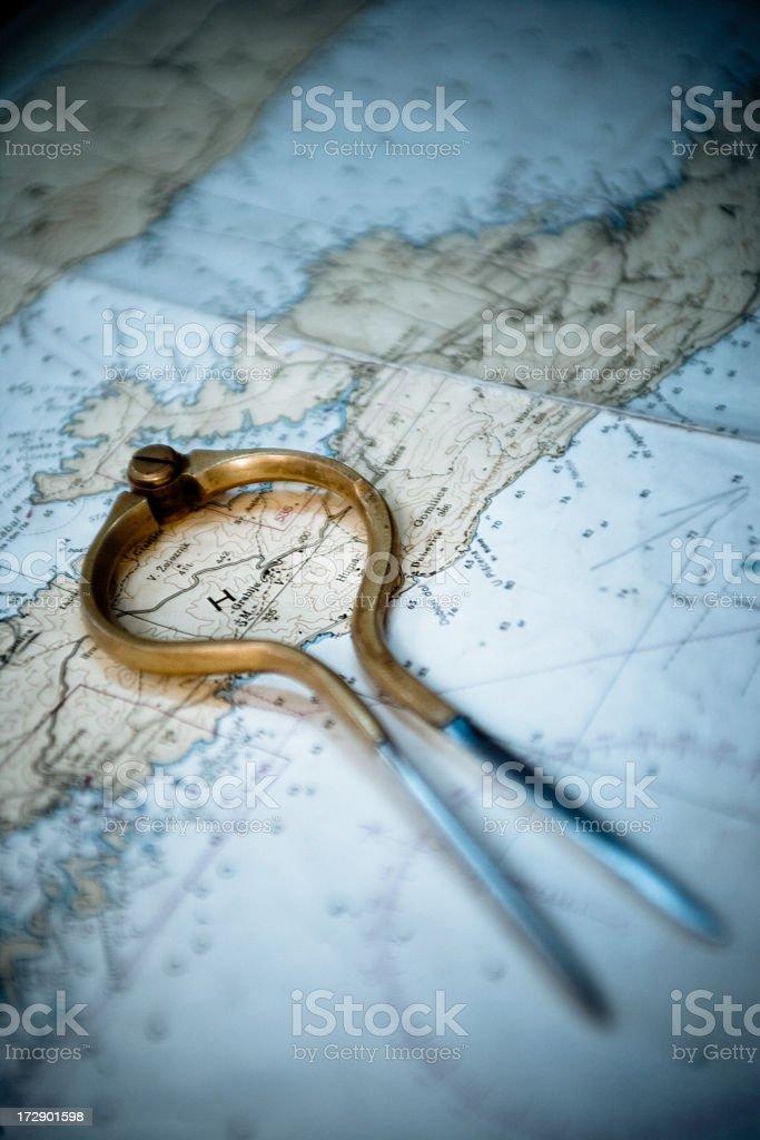 Caliper on Map stock photo