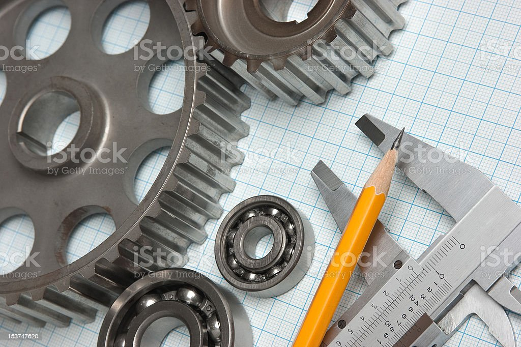 caliper with gears and bearings royalty-free stock photo