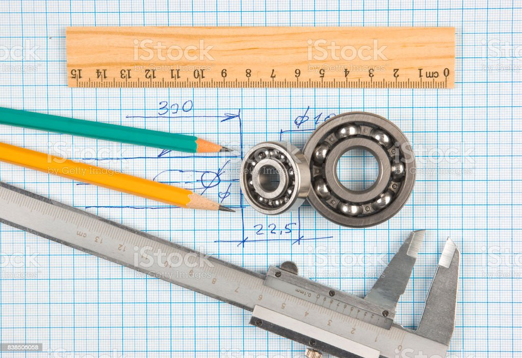 calipers, bearing and square stock photo