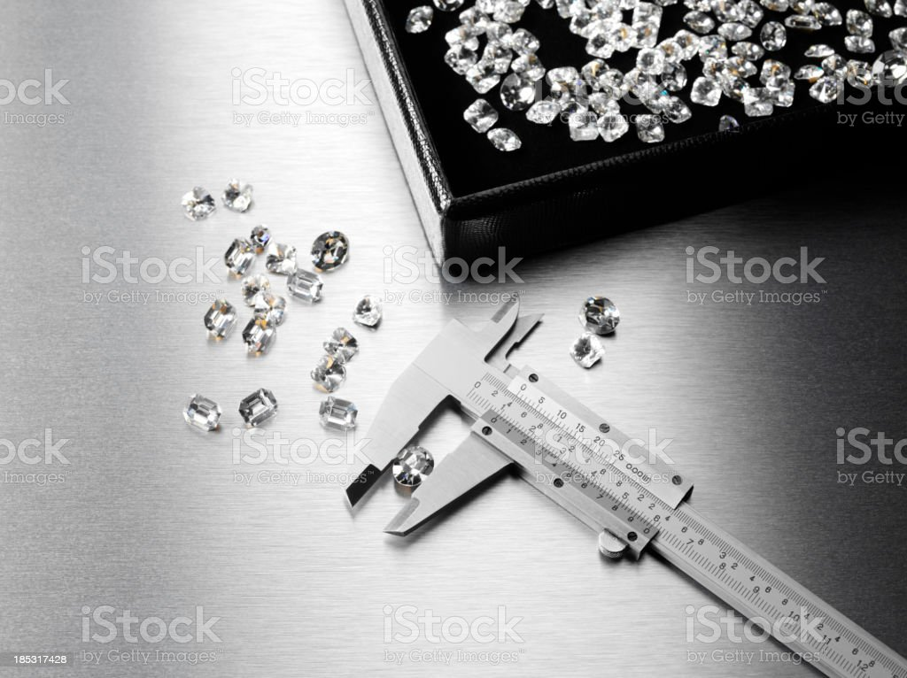 Calipers for Precision Diamond Measurment stock photo