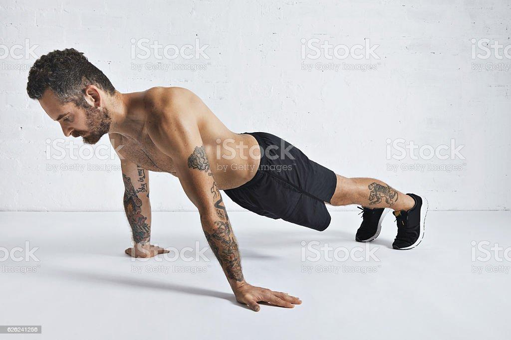 Calisthenics pushups training technique stock photo