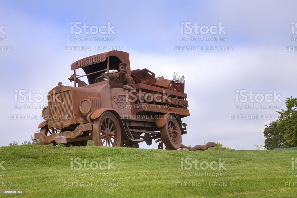Calistoga Water Truck Sculpture stock photo