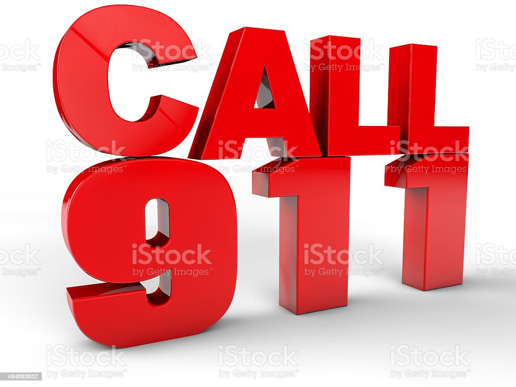 Call 911 emergency call 3d text stock photo