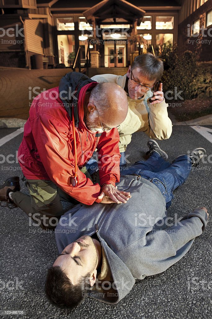 CPR call 911 stock photo