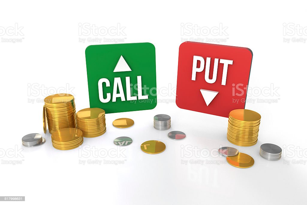 Call and put option trading signs stock photo