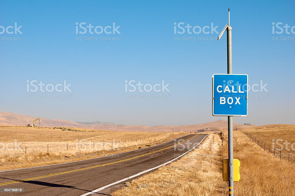 Call Box off Highway stock photo