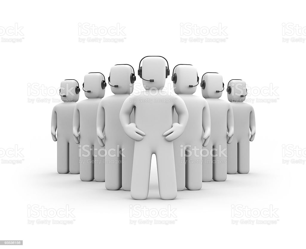 Call center 3D concept digital men with headsets royalty-free stock photo