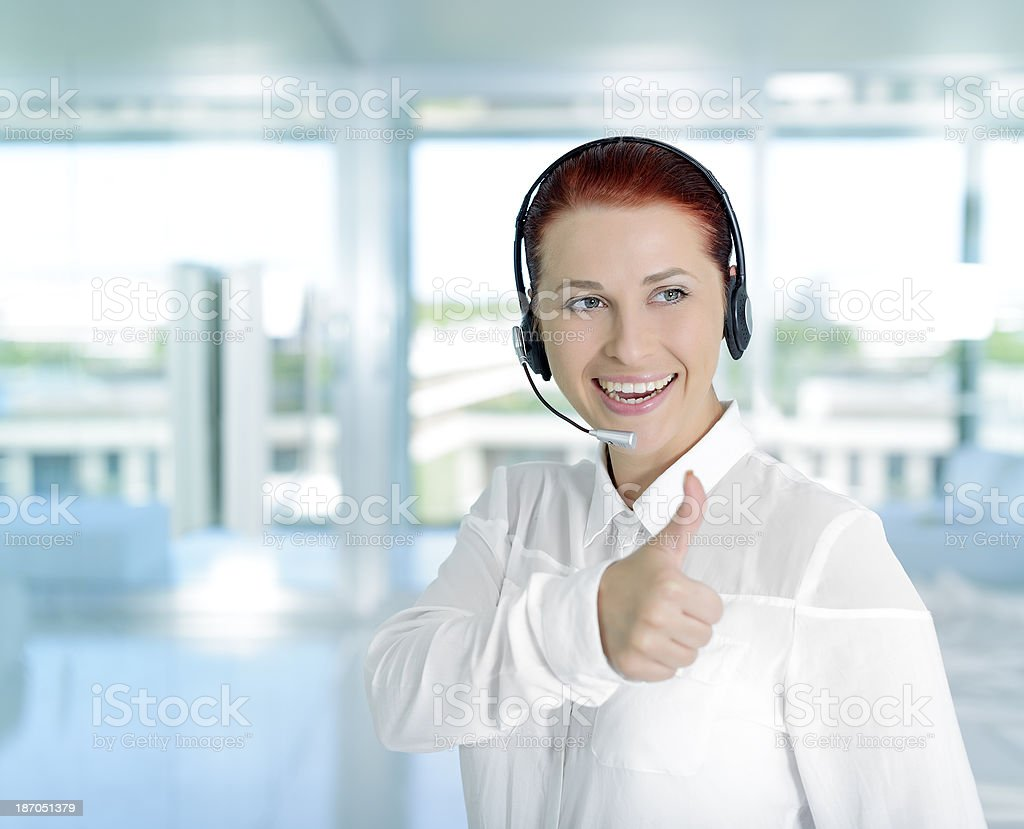 call center agent smiling royalty-free stock photo