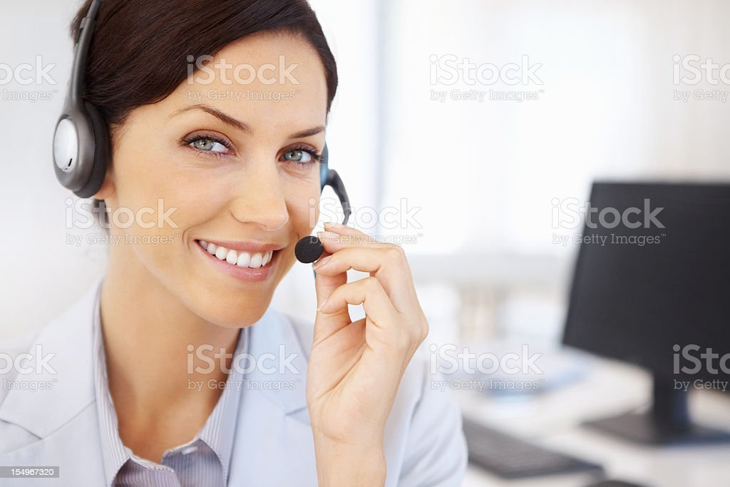 Call center agent talking royalty-free stock photo