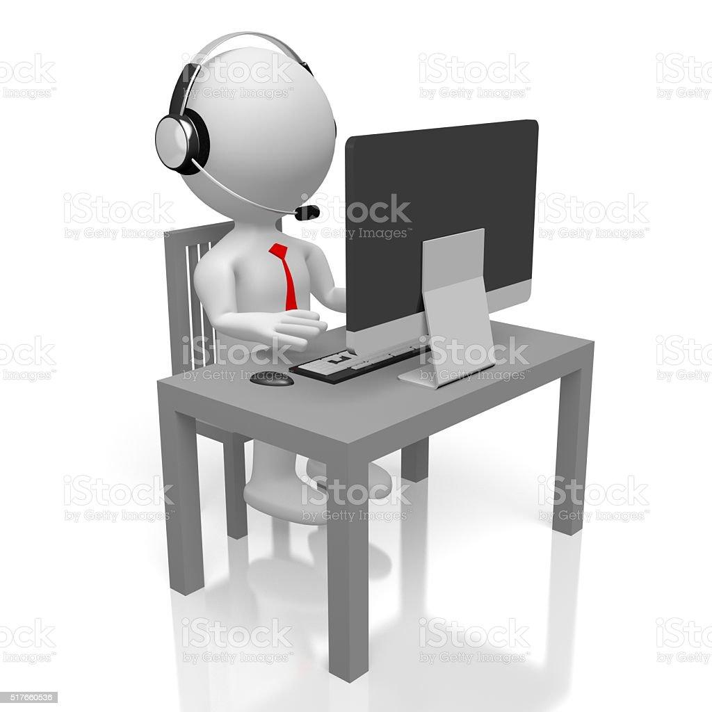 3D call center concept stock photo