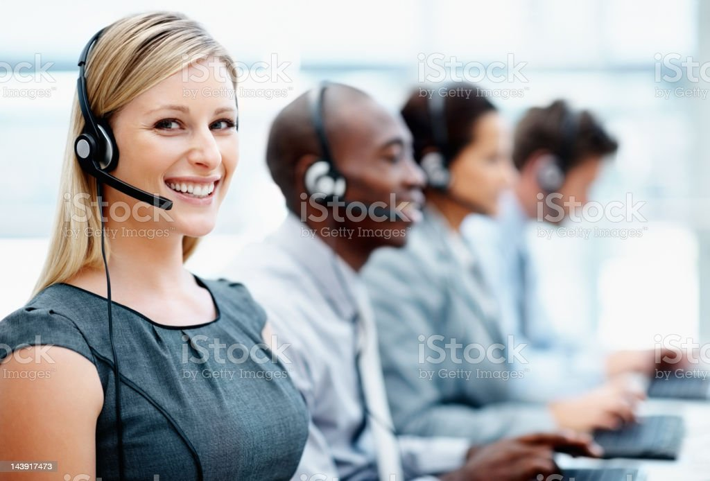 Call center employees at work royalty-free stock photo