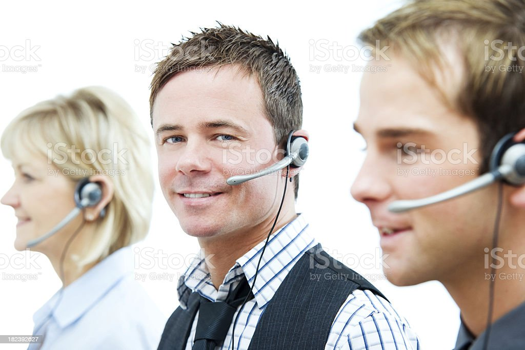 Call Center Employees Using Headsets Customer Service royalty-free stock photo