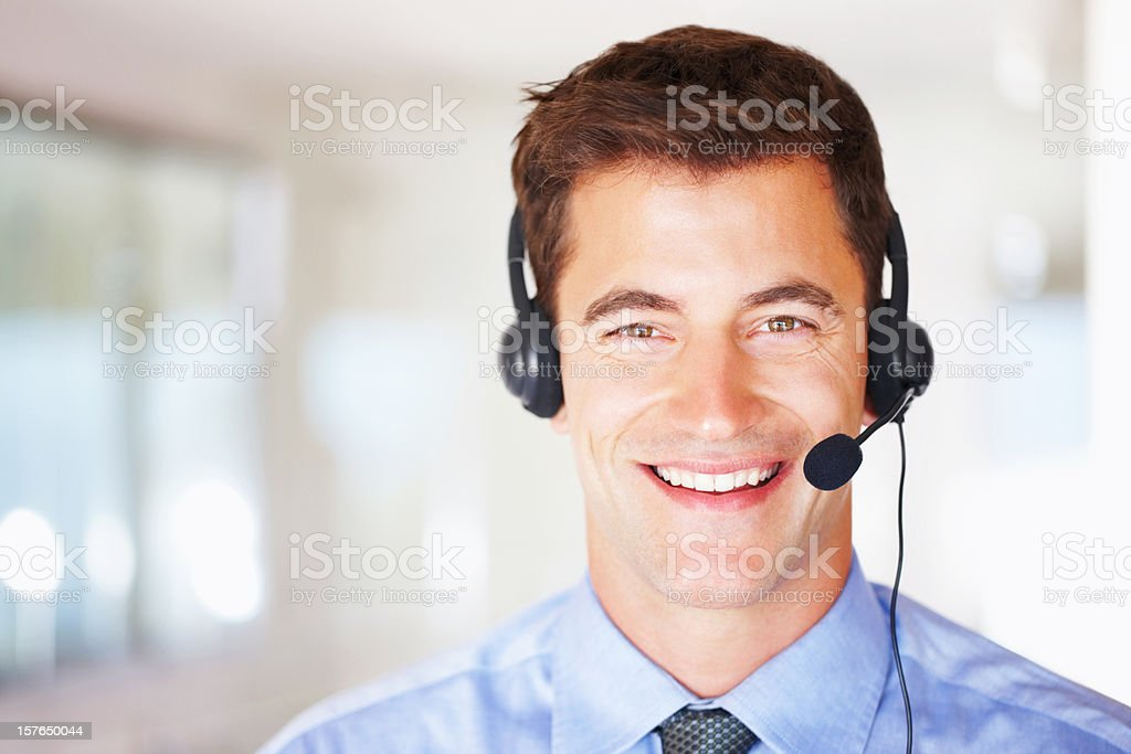 Call center executive wearing a headset with copyspace royalty-free stock photo