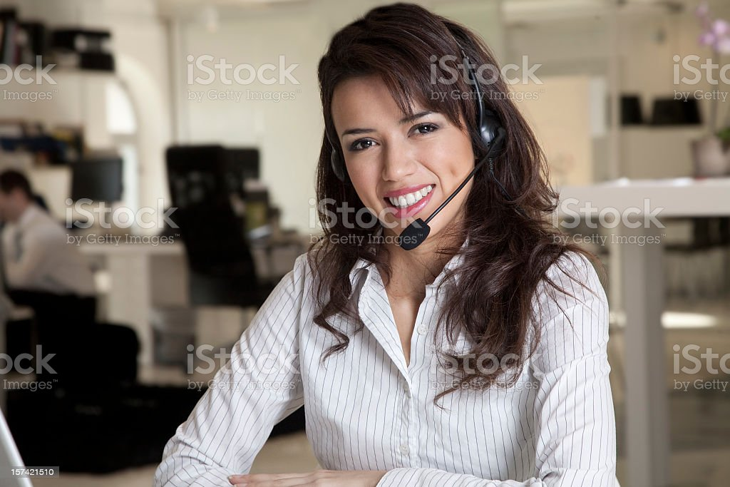 Call center female worker portrait royalty-free stock photo