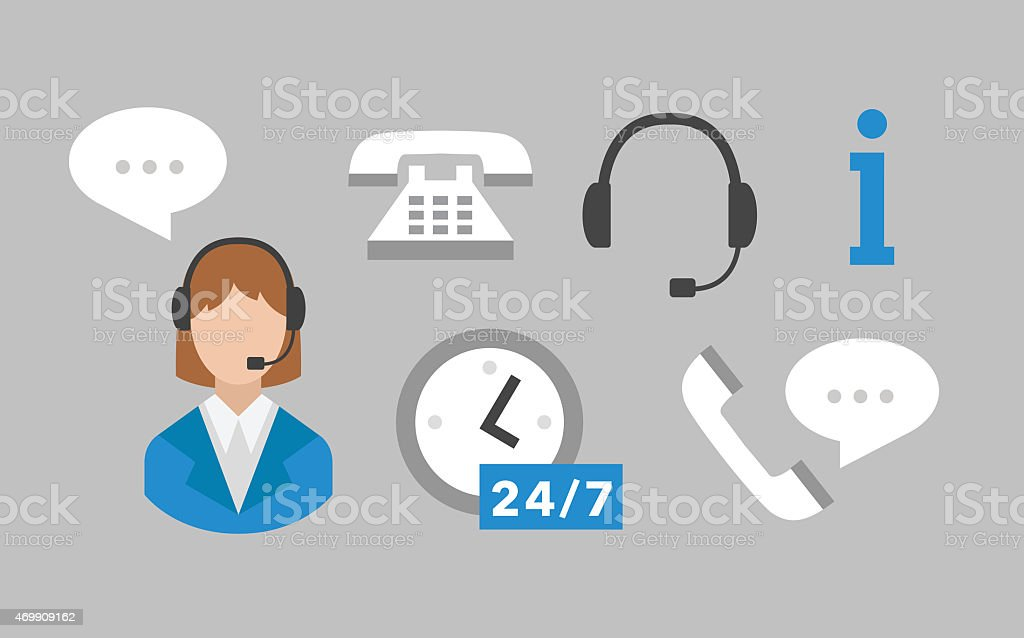 Call center icons vector set stock photo