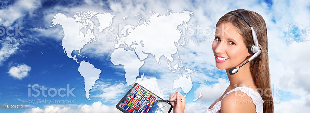 call center operator global international communications concept stock photo
