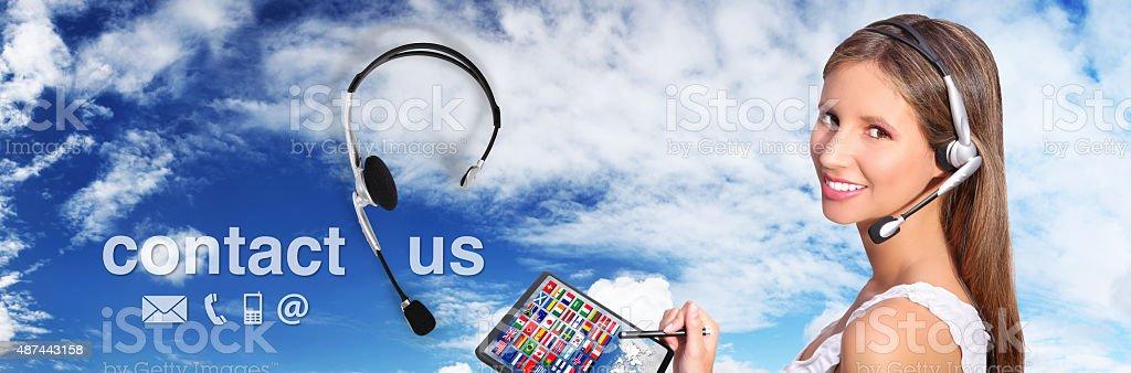 call center operator global international contact concept stock photo